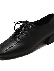 halpa -Naisten PU Kevät Oxford-kengät Block Heel Tylpät kärjet Musta / Beesi