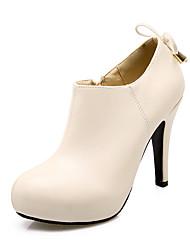 hesapli -Kadın's Ayakkabı PU İlkbahar & Kış Vintage / Minimalizm Çizmeler Stiletto Topuk Yuvarlak Uçlu Bootiler / Bilek Botları Günlük / Ofis ve Kariyer için Bej / Kırmzı / Pembe
