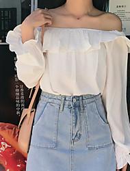 olcso -női ázsiai méretű vékony blúz - szilárd színű váll