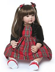 Недорогие -NPKCOLLECTION Куклы реборн Кукла для девочек Девочки 24 дюймовый Подарок Ручная работа Искусственная имплантация Коричневые глаза Детские Девочки Игрушки Подарок