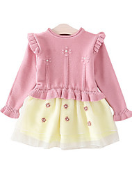 cheap -Baby Girls' Active Solid Colored Long Sleeve Polyester Dress Pink