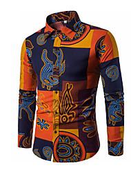 Недорогие -Муж. Пэчворк Размер ЕС / США - Рубашка Воротник-визитка Тонкие Уличный стиль Контрастных цветов / Длинный рукав