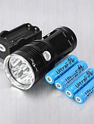 Недорогие -3 Светодиодные фонари LED 6 излучатели 6000 lm Ударопрочный Перезаряжаемый ударный корпус Походы / туризм / спелеология Повседневное использование Велосипедный спорт