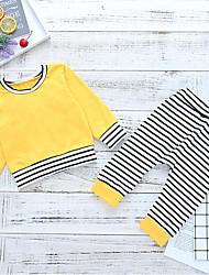お買い得  -赤ちゃん 女の子 ストリートファッション 日常 ストライプ 長袖 レギュラー ポリエステル アンサンブル イエロー