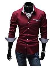 Недорогие -Муж. Рубашка Хлопок Классический Однотонный / Длинный рукав