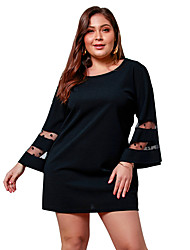cheap -Women's Plus Size Daily Going out Basic Street chic Slim A Line Sheath Little Black Dress - Solid Colored Patchwork Spring Green Black Navy Blue XXL XXXL XXXXL / Sexy