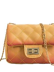 preiswerte -Damen Taschen PU Umhängetasche Knöpfe / Reißverschluss Volltonfarbe Schwarz / Rosa / Gelb