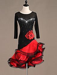 Χαμηλού Κόστους -Λάτιν Χοροί Φορέματα Γυναικεία Επίδοση Spandex Κέντημα / Διαφορετικά Υφάσματα / Κρύσταλλοι / Στρας Μακρυμάνικο Φόρεμα