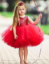 Χαμηλού Κόστους -Παιδιά Κοριτσίστικα Βασικό Μονόχρωμο Αμάνικο Φόρεμα Ανθισμένο Ροζ