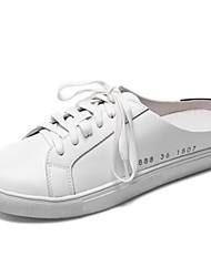 Χαμηλού Κόστους -Γυναικεία Νάπα Leather Καλοκαίρι Γλυκός / Μινιμαλισμός Αθλητικά Παπούτσια Επίπεδο Τακούνι Στρογγυλή Μύτη Λευκό