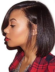 abordables -Perruque Cheveux Naturel humain Lace Frontale Cheveux Brésiliens Droit Yaki Naturel Séparation profonde Partie latérale 130% avec des cheveux de bébé Ligne de Cheveux Naturelle Pour Cheveux Africains