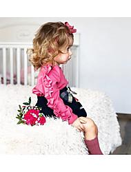 levne -Dítě Dívčí Šik ven Denní Jednobarevné Dlouhý rukáv Polyester Blůzky Světlá růžová