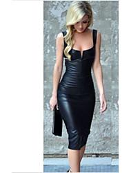 Недорогие -Жен. Для вечеринок Тонкие Оболочка Платье Глубокий U-образный вырез Средней длины / Сексуальные платья