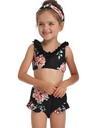 ราคาถูก -เด็ก / Toddler เด็กผู้หญิง พื้นฐาน / สไตล์น่ารัก Sport / ชายหาด ลายดอกไม้ ระบาย เสื้อไม่มีแขน ไนลอน ชุดว่ายน้ำ สีดำ