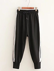 levne -dámské asijské velikosti štíhlé kalhoty kalhoty - pevné černé barvy