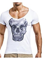 Недорогие -Мужская футболка азиатского размера из льна / хлопка - цветная круглая шея