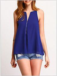 Χαμηλού Κόστους -γυναικεία ασιατική πουκάμισο μεγέθους - συμπαγές χρώμα λαιμό