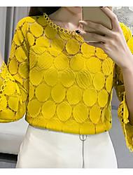 billiga -kvinnlig asiatisk storlek slank blus - solid färgad rund hals