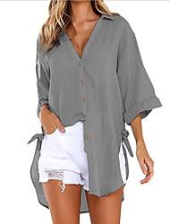 Недорогие -Жен. Крупногабаритные Рубашка Рубашечный воротник Однотонный / Хлопок