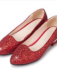 preiswerte -Damen PU Frühling Süß / Minimalismus Hochzeit Schuhe Niedriger Heel Runde Zehe Paillette / Glitter Gold / Silber / Rot