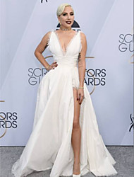 preiswerte -A-Linie V-Wire Ausschnitt Boden-Länge Taft Formeller Abend Kleid mit Muster / Druck durch TS Couture®