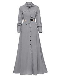 رخيصةأون -فستان نسائي قميص أنيق كشكش طويل للأرض ضيق قلادة مناسب للحفلات مناسب للخارج