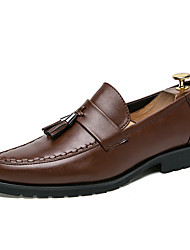 cheap -Men's Comfort Shoes Faux Leather Fall Loafers & Slip-Ons Black / Brown