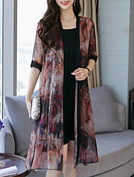 cheap -Women's Plus Size Daily Going out Sophisticated Elegant Petal Sleeves Shift Chiffon Dress - Geometric Black & Red, Lace Pleated Print V Neck Summer Brown Red XXXL XXXXL XXXXXL / Sexy