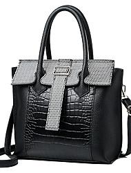 abordables -Mujer Bolsos PU Tote Cremallera Color sólido Negro