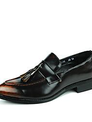 povoljno -Muškarci Kožne cipele Eko koža Jesen zima Vintage / Uglađeni Natikače i mokasinke Otporna na udarce Postupno Crn / Braon / Lila-roza / S resicama / Zabava i večer