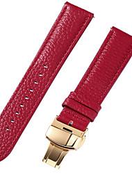 Недорогие -Настоящая кожа / Кожа / Шерсть теленка Ремешок для часов Ремень для Красный 17см / 6,69 дюйма / 18cm / 7 дюймы / 19cm / 7.48 дюймы 1cm / 0.39 дюймы / 1.2cm / 0.47 дюймы / 1.3cm / 0.5 дюймы