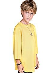 billige -Barn Gutt Aktiv / Grunnleggende Fargeblokk Kortermet Polyester T-skjorte Hvit