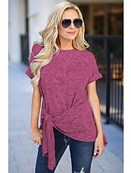 baratos -T-shirt asiático tamanho feminino - decote redondo colorido sólido