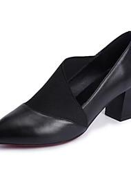 ieftine -Pentru femei Nappa Leather Vară minimalism Tocuri Blocați călcâiul Vârf ascuțit Negru / Bej