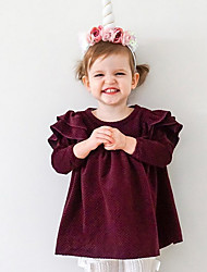 billige -Baby Jente Aktiv Ensfarget 3/4 ermer Bomull Kjole Rosa