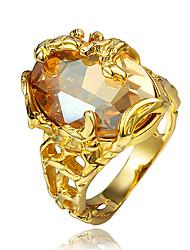 Недорогие -Жен. Кольцо Обручальное кольцо Цирконий 1шт Золотой Позолота 18К Металл цвета желтого золота Мода Для вечеринок Обручение Бижутерия Классический