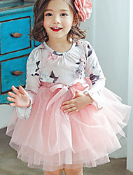 お買い得  -子供 女の子 ベーシック ソリッド 長袖 ドレス ブルー