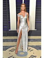 economico -A tubino A V Lungo Con strass Stile VIP Serata formale Vestito con Lustrini / Spacco sul davanti di TS Couture®
