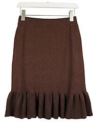 Χαμηλού Κόστους -Γυναικεία Μολύβι Βασικό Φούστες - Μονόχρωμο