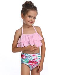 ราคาถูก -เด็ก / Toddler เด็กผู้หญิง พื้นฐาน / สไตล์น่ารัก Sport / ชายหาด ลายดอกไม้ ระบาย เสื้อไม่มีแขน ไนลอน ชุดว่ายน้ำ สีแดงชมพู