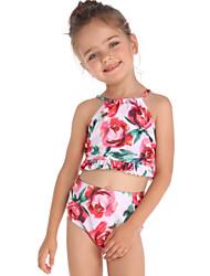 ราคาถูก -เด็ก / Toddler เด็กผู้หญิง พื้นฐาน / สไตล์น่ารัก Sport / ชายหาด ลายดอกไม้ ระบาย / ลายพิมพ์ เสื้อไม่มีแขน ไนลอน ชุดว่ายน้ำ ทับทิม