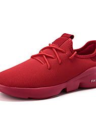 זול -בגדי ריקוד גברים נעלי נוחות בד גמיש אביב קיץ ספורטיבי / יום יומי נעלי אתלטיקה ריצה נושם לבן / שחור / אדום
