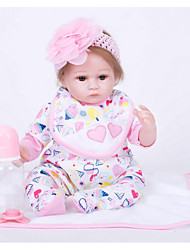 cheap -FeelWind Reborn Doll Girl Doll Baby Girl 18 inch Silicone Vinyl - lifelike Handmade Cute Kids / Teen Non-toxic Kid's Unisex Toy Gift
