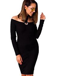 Недорогие -Жен. Уличный стиль Облегающий силуэт Платье - Однотонный Хальтер До колена / Сексуальные платья