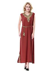 Недорогие -Жен. Для вечеринок Абайя Кафтан Платье - Однотонный, С разрезами V-образный вырез Средней длины