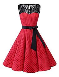 Недорогие -Жен. Большие размеры 1950-е года А-силуэт Платье - Горошек, Кружева До колена / Сексуальные платья