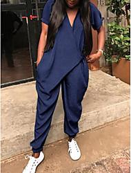 Недорогие -Жен. Повседневные Синий Серый Комбинезоны, Однотонный L XL XXL С короткими рукавами