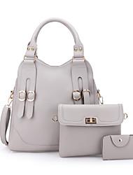 Χαμηλού Κόστους -Γυναικεία Τσάντες PU Σετ τσάντα 3 σετ Σετ τσαντών Ανθισμένο Ροζ / Γκρίζο / Σκούρο καφέ