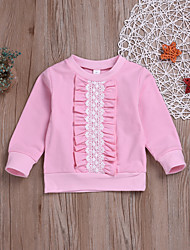 cheap -Kids / Toddler Girls' Active / Basic Daily Solid Colored Lace / Patchwork Long Sleeve Regular Cotton Hoodie & Sweatshirt Pink