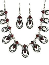 Недорогие -Жен. Красный Старинный Комплект ювелирных изделий Мода Включают Серьги-слезки Ожерелье с шармом Красный Назначение Официальные Свидание